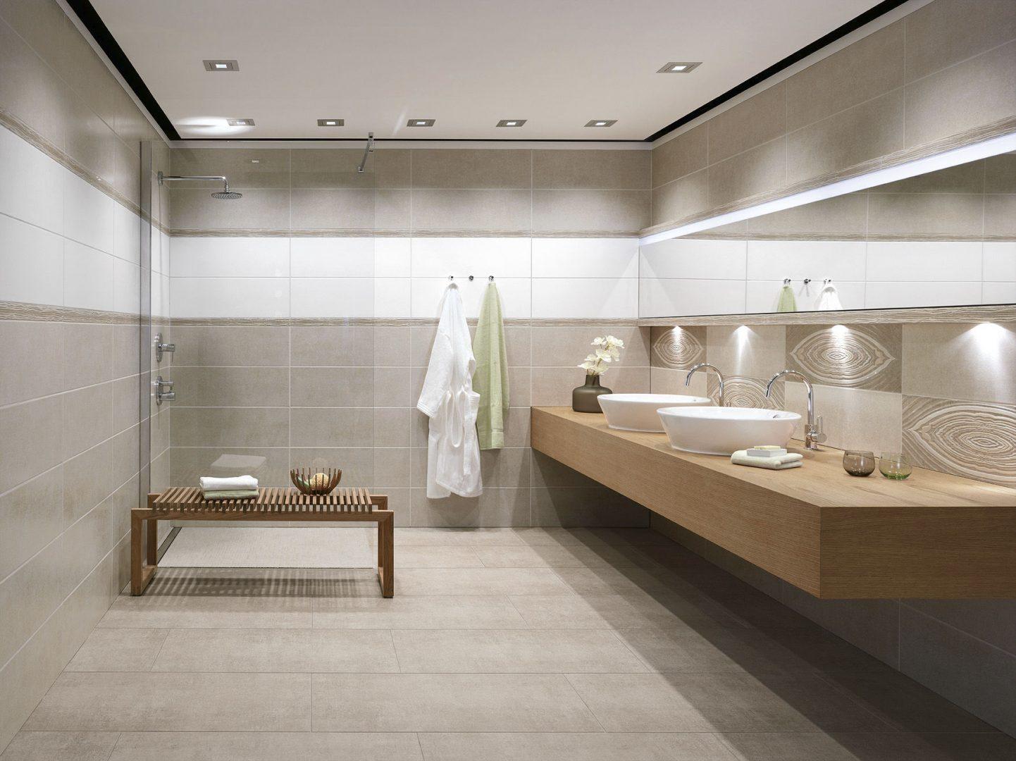 Ba o con azulejos de porcelana im genes y fotos for Muebles de cuarto de bano grandes