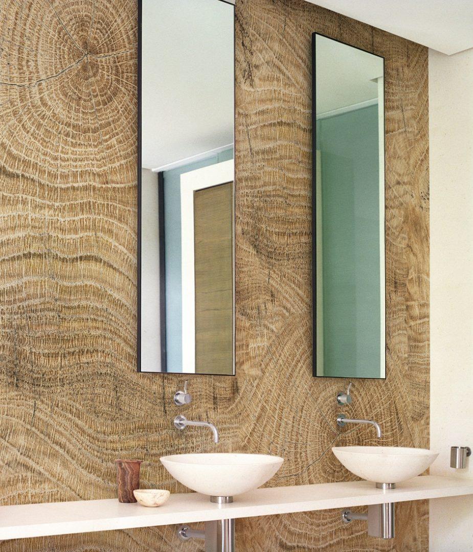 Ba o con paredes de madera im genes y fotos - Decoracion de paredes en madera ...