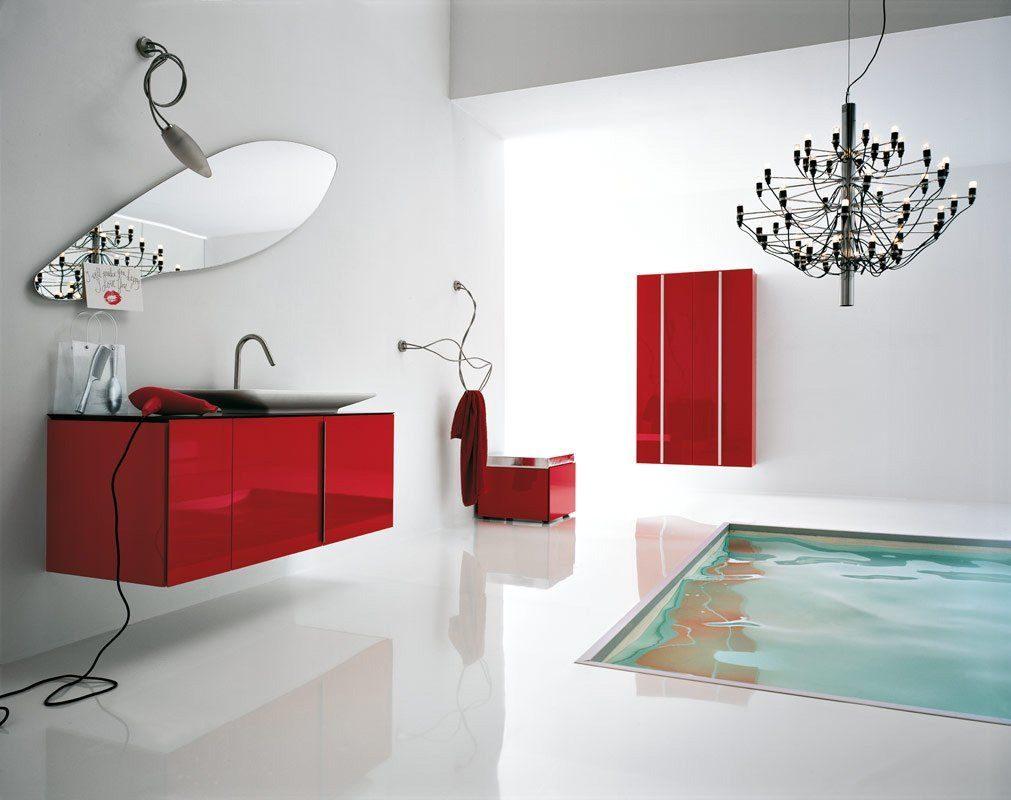 Ba o moderno en rojo y blanco im genes y fotos Decoracion de banos en rojo