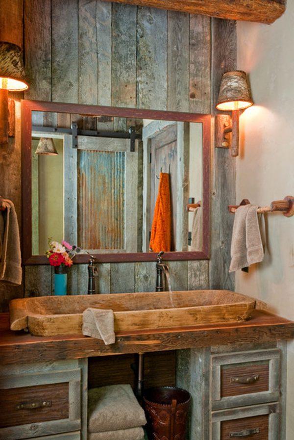 lavabo de un cuarto de bao rstico