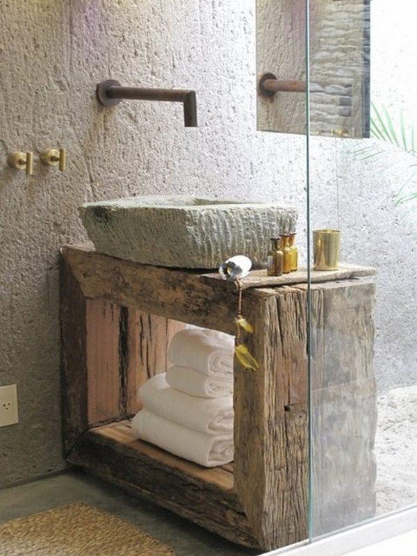 Lavabo r stico de piedra im genes y fotos for Lavabos rusticos para bano