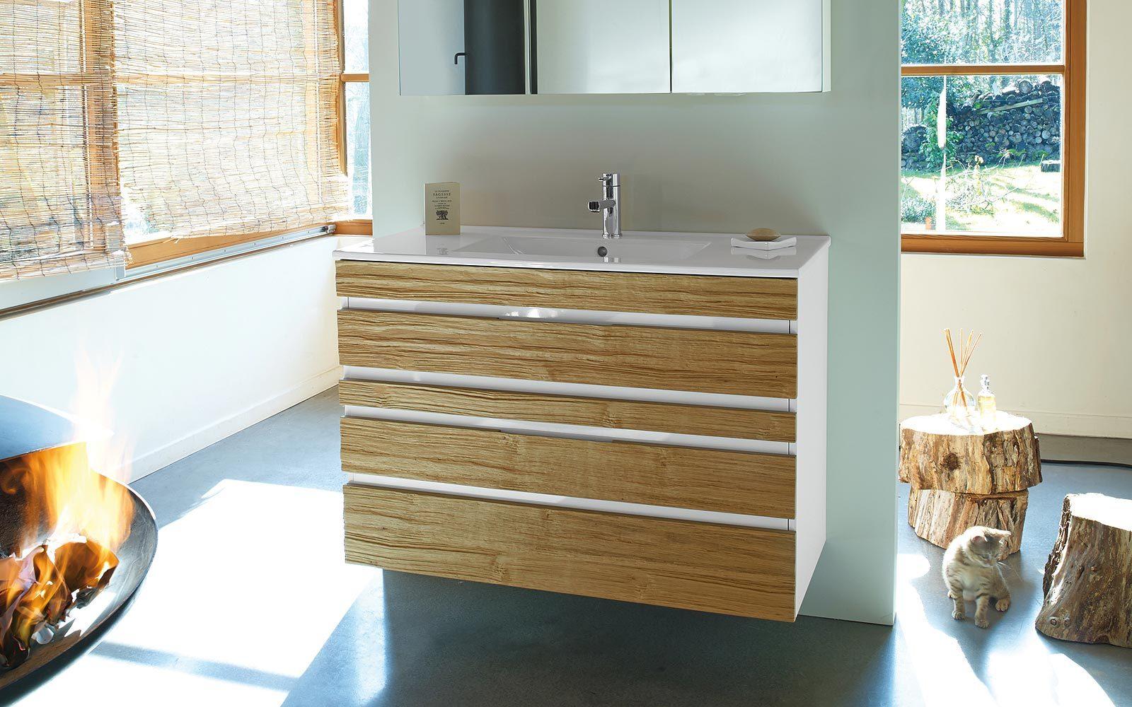 Galer a de im genes cuartos de ba o de madera for Mueble lavabo madera